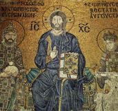 Jesus Christ Mosaic Composition in Hagia Sophia. Closeup Background Royalty Free Stock Photos