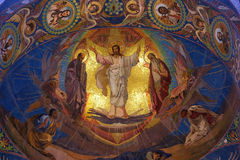 Jesus Christ mosaic in orthodox temple, Petersburg Stock Photos