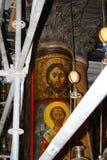 Jesus Christ na coluna na basílica magnífica da natividade de Christ's em Bethlehem imagens de stock