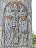 Jesus Christ na cruz de madeira, Lituânia fotos de stock royalty free