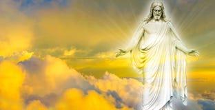 Jesus Christ na imagem panorâmico do céu foto de stock