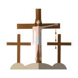 Jesus christ nailed the cross shadow Royalty Free Stock Photos