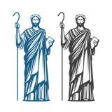 Jesus Christ of Nazareth. God, Messiah, religion symbol. Vector illustration. Isolated on white background Royalty Free Stock Image