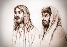 Jesus Christ of Nazareth and Judas. Portrait of Jesus Christ of Nazareth and Judas Stock Photo