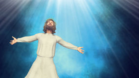 Jesus Christ of Nazareth Open Arms Miracle Illustration. Jesus Christ of Nazareth performing miracles royalty free illustration