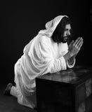 Jesus Christ of Nazareth praying. Black and white Royalty Free Stock Photos