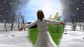 Jesus Christ of Nazareth Rebukes Snowstorm Illustration. Jesus Christ turning blizzard storm into springtime royalty free illustration