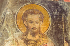 Jesus Christ in old fresco. Old fresco representing Jesus Christ painted inside a Christian Orthodox church from Romania Stock Image