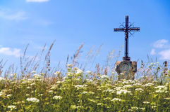 Jesus Christ on old wayside cross in meadow. Royalty Free Stock Image