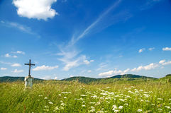 Jesus Christ on old wayside cross in meadow. Royalty Free Stock Images