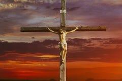 Free Jesus Christ On Cross Over Sunrise He Is Risen Victory In Easter Day, Good Friday Sunset God Religious World Christian Stock Photo - 164082550