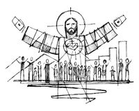 Jesus Christ with open arms and and people illustration. Hand drawn vector illustration or drawing of Jesus Christ with open arms and and people Royalty Free Stock Photography