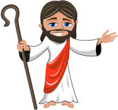 Jesus Christ Open Hand Stick sonriente aisló Imágenes de archivo libres de regalías