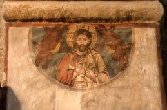 Jesus Christ på den gamla georgiska freskomålningen av den Svetitskhoveli domkyrkan som byggs i det 4th århundradet Arkivbild