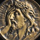 Jesus Christ på en svart bakgrund Royaltyfri Fotografi