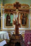 Jesus Christ på korset från ortodox kyrka royaltyfri fotografi