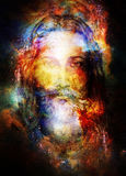 Jesus Christ painting with radiant colorful energy of light in c. Osmic space, eye contact Stock Photography