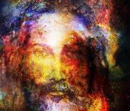 Jesus Christ painting with radiant colorful energy of light in cosmic space, eye contact.
