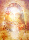Jesus Christ painting with radiant colorful energy of light, eye contact. Stock Photography