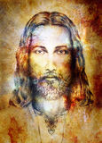 Jesus Christ painting with radiant colorful energy of light, eye contact. Royalty Free Stock Photos