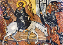 Jesus Christ Palm Sunday Mosaic Saint George Church Madaba Jordan. Jesus Christ Palm Sunday Donkey Mosaic Saint George Greek Orthodox Church Madaba Jordan Stock Photos