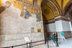 Jesus Christ Pantocrator, detalhe do mosaico bizantino do deesis imagens de stock