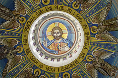 Jesus Christ Pantocrator. Mosaic in the dome of the temple Jesus Christ Pantocrator Royalty Free Stock Image