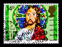 Jesus Christ, par Tracy Jenkins, âge 14, Noël 1981 - le ` s d'enfants décrit le serie, vers 1981 Images libres de droits