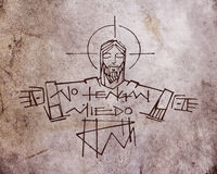 Jesus Christ and phrase. Hand drawn illustration or drawing of Jesus Christ and a phrase in spanish that says: No tengan miedo, which means: Dont be afraid royalty free illustration