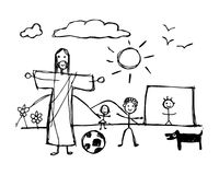 Jesus Christ playing with children in childish style. Hand drawn illustration or drawing of Jesus Christ playing with children in childish style stock illustration