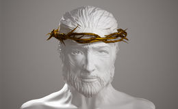 Jesus Christ  Porcelain Statue with Gold Crown of Thorns 3D Rend Royalty Free Stock Photo