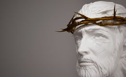 Jesus Christ Porcelain Statue with Gold Crown of Thorns 3D Rende Stock Photos