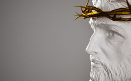 Jesus Christ Porcelain Statue with Gold Crown of Thorns 3D Rende Stock Image