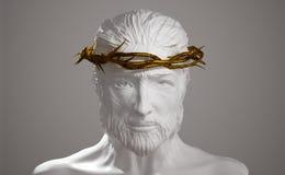 Jesus Christ Porcelain Statue met Gouden Kroon van 3D Doornen trekt uit Royalty-vrije Stock Foto