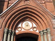 Jesus Christ-Porträt auf Kirchenwand, Litauen stockbild