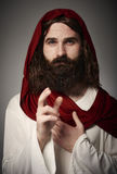 Jesus Christ. Portrait of Jesus on robe blessing everyone royalty free stock photos