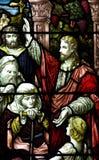Jesus Christ prêchant (fenêtre en verre teinté) Image libre de droits