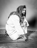 Jesus christ praying. black and white. Jesus Christ at night. Black and white Stock Photography