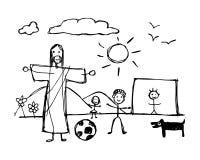 Jesus Christ que juega con los niños en estilo infantil stock de ilustración
