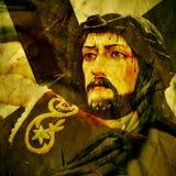 Jesus Christ que leva a cruz santamente, com um efeito retro Fotografia de Stock