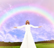 Jesus Christ Rainbow Illustration. Jesus Christ with open arms embracing the heaven Stock Image