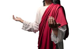 Jesus christ raised hands with open palms and praying to god royalty free stock photo