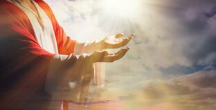 Free Jesus Christ Reaching Out His Hands And Praying At Sunset, Banner Design Royalty Free Stock Photo - 214415425