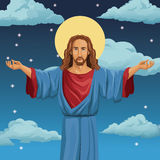 Jesus christ religious blessed night background Stock Photo