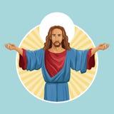 Jesus christ religious image label Royalty Free Stock Image