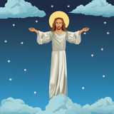Jesus christ religious image night background Stock Images