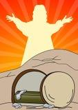Jesus Christ is risen. Resurrection of Jesus Christ- Vector illustration Stock Photos