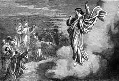 Jesus Christ's Ascension into Heaven. An engraved illustration image of Jesus Christ's resurrection Ascension into Heaven, from a vintage Victorian book dated Royalty Free Stock Photos