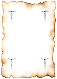 Jesus Christ's cross 3. Jesus Christ's figure on a cross, executed on a sheet to a paper n corners of a sheet. The paper has faded from an old age Royalty Free Stock Photos