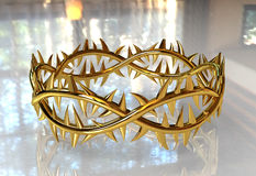 Jesus Christ's Crown in Yellow Gold in 3D. On Glossy Surface Stock Image